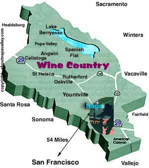 Rutherford, Napa Valley California Map
